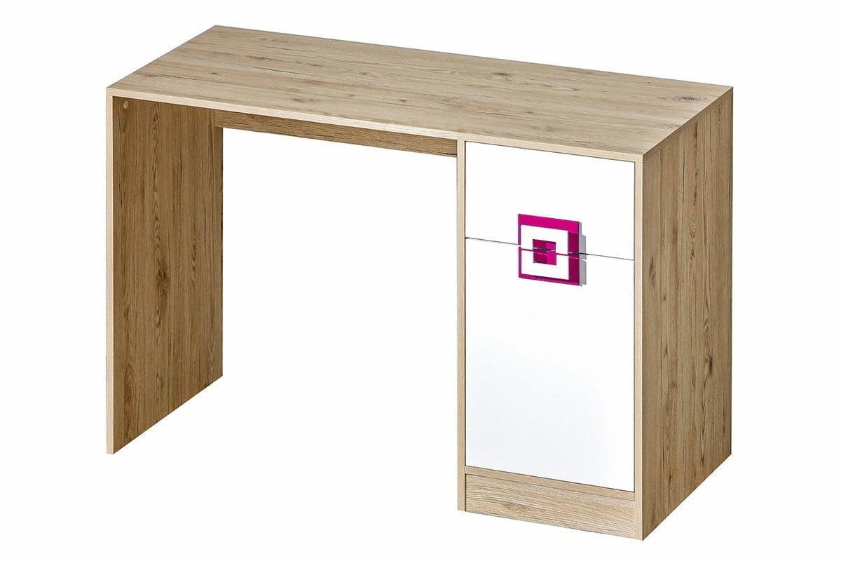 Kolorowe biurko do pokoju dziecięcego białe / jasny dąb / różowe