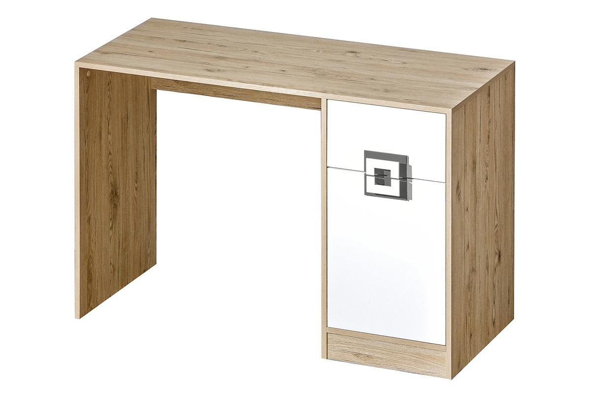Kolorowe biurko do pokoju dziecięcego białe / jasny dąb / szare