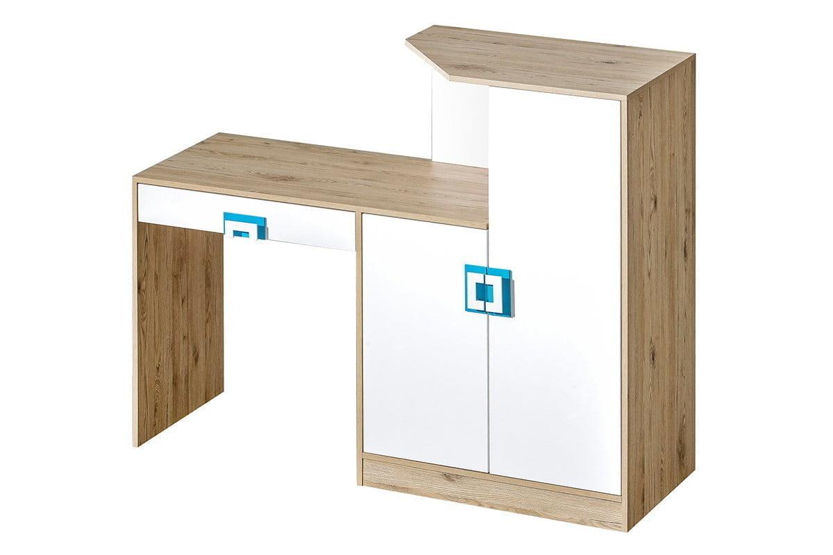 Kolorowe biurko z komodą do pokoju dziecięcego białe / jasny dąb / turkusowe