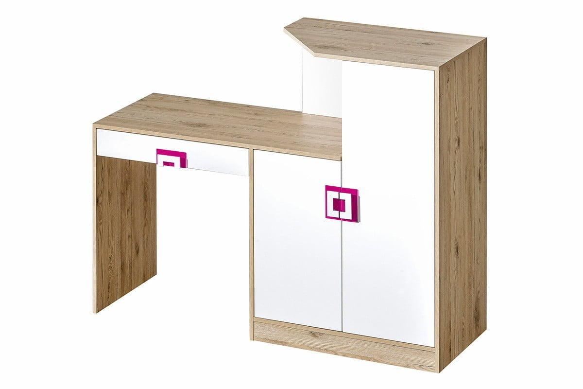Kolorowe biurko z komodą do pokoju dziecięcego białe / jasny dąb / różowe