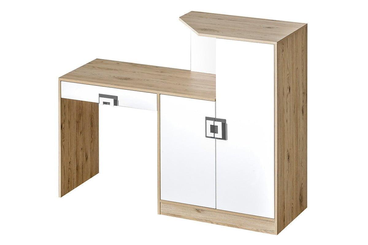 Kolorowe biurko z komodą do pokoju dziecięcego białe / jasny dąb / szare