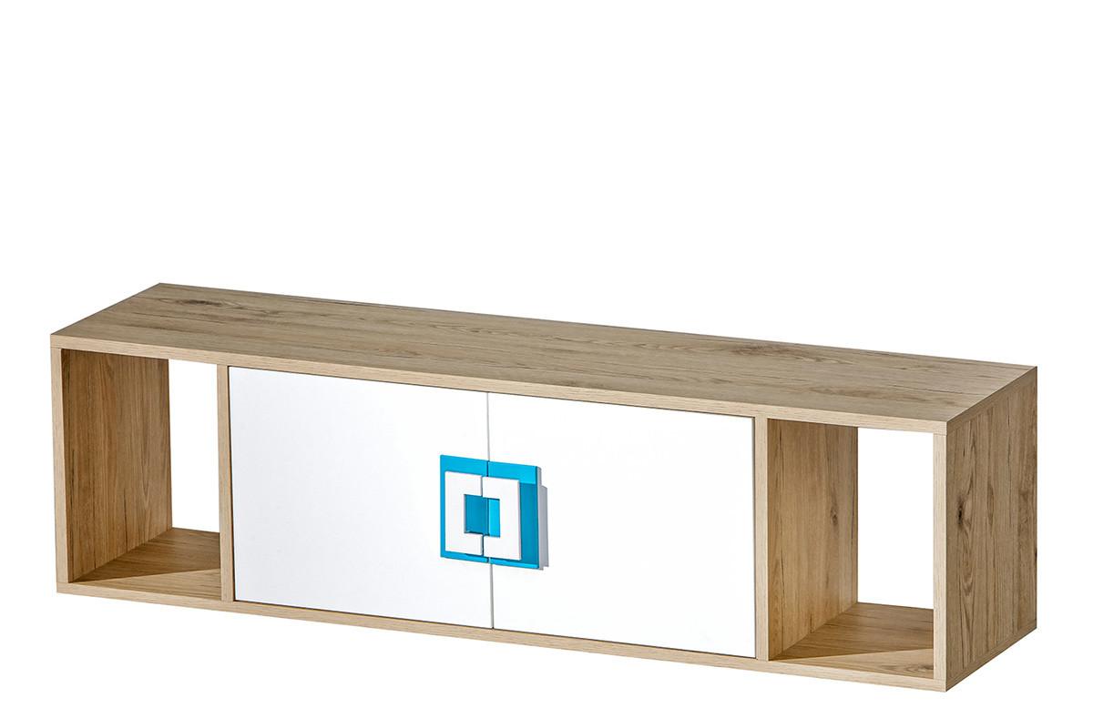 Kolorowa półka wisząca do pokoju dziecięcego biała / jasny dąb / turkusowa
