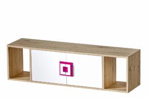 CAMBI, https://konsimo.pl/kolekcja/cambi/ Kolorowa półka wisząca do pokoju dziecięcego biała / jasny dąb / różowa biały/jasny dąb/różowy - zdjęcie