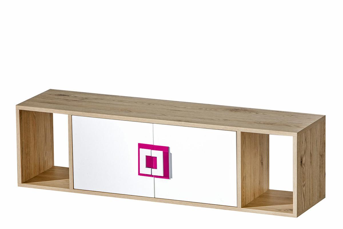 Kolorowa półka wisząca do pokoju dziecięcego biała / jasny dąb / różowa