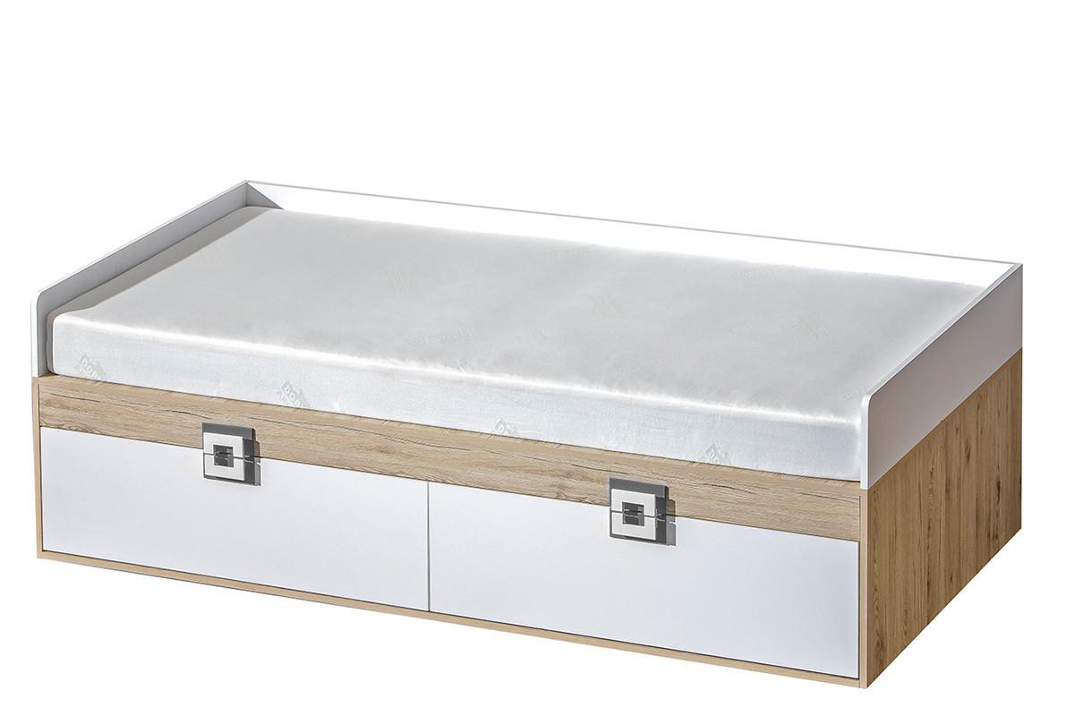 Kolorowe pojedyncze łóżko do pokoju dziecięcego 90 x 200 białe / jasny dąb / szare