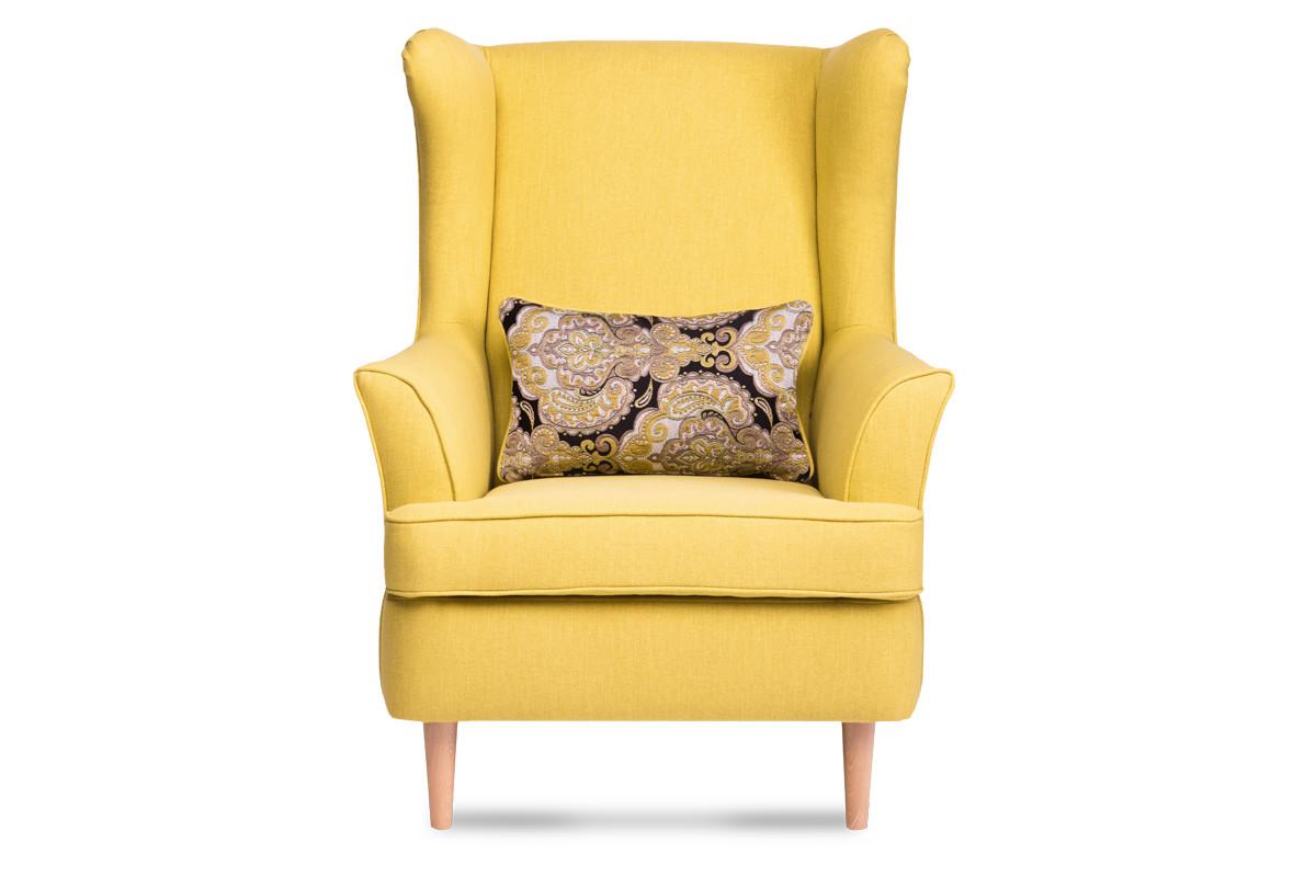 Skandynawski fotel żółty na nóżkach