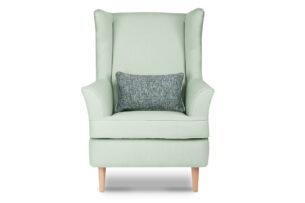 STRALIS, https://konsimo.pl/kolekcja/stralis/ Skandynawski fotel zielony na nóżkach miętowy - zdjęcie