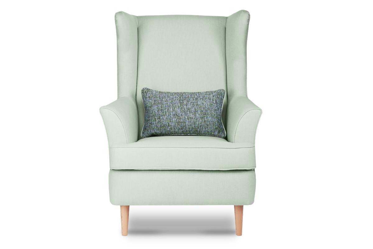 Skandynawski fotel zielony na nóżkach