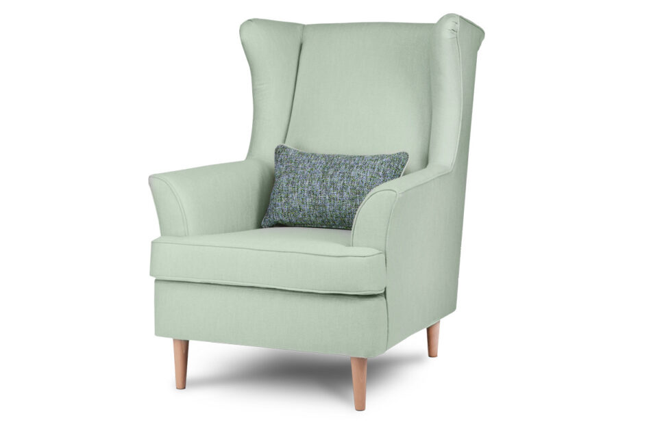 STRALIS Skandynawski fotel zielony na nóżkach miętowy - zdjęcie 1