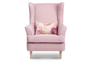 STRALIS, https://konsimo.pl/kolekcja/stralis/ Skandynawski fotel pudrowy róż na nóżkach różowy - zdjęcie