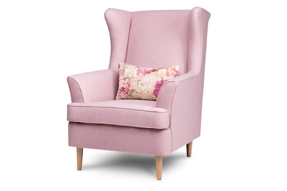 STRALIS Skandynawski fotel pudrowy róż na nóżkach różowy - zdjęcie 1