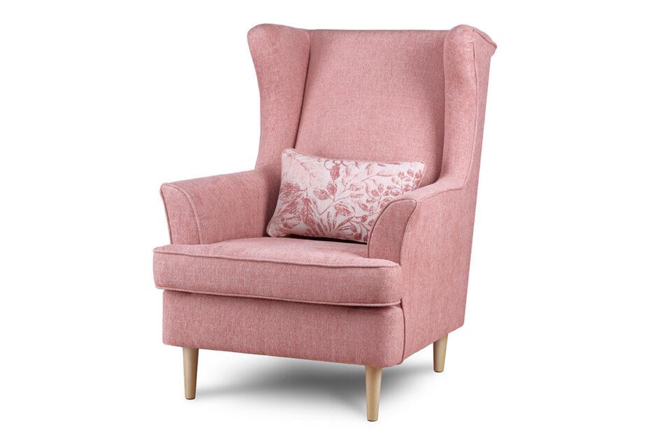 STRALIS Skandynawski fotel różowy na nóżkach koralowy - zdjęcie 1