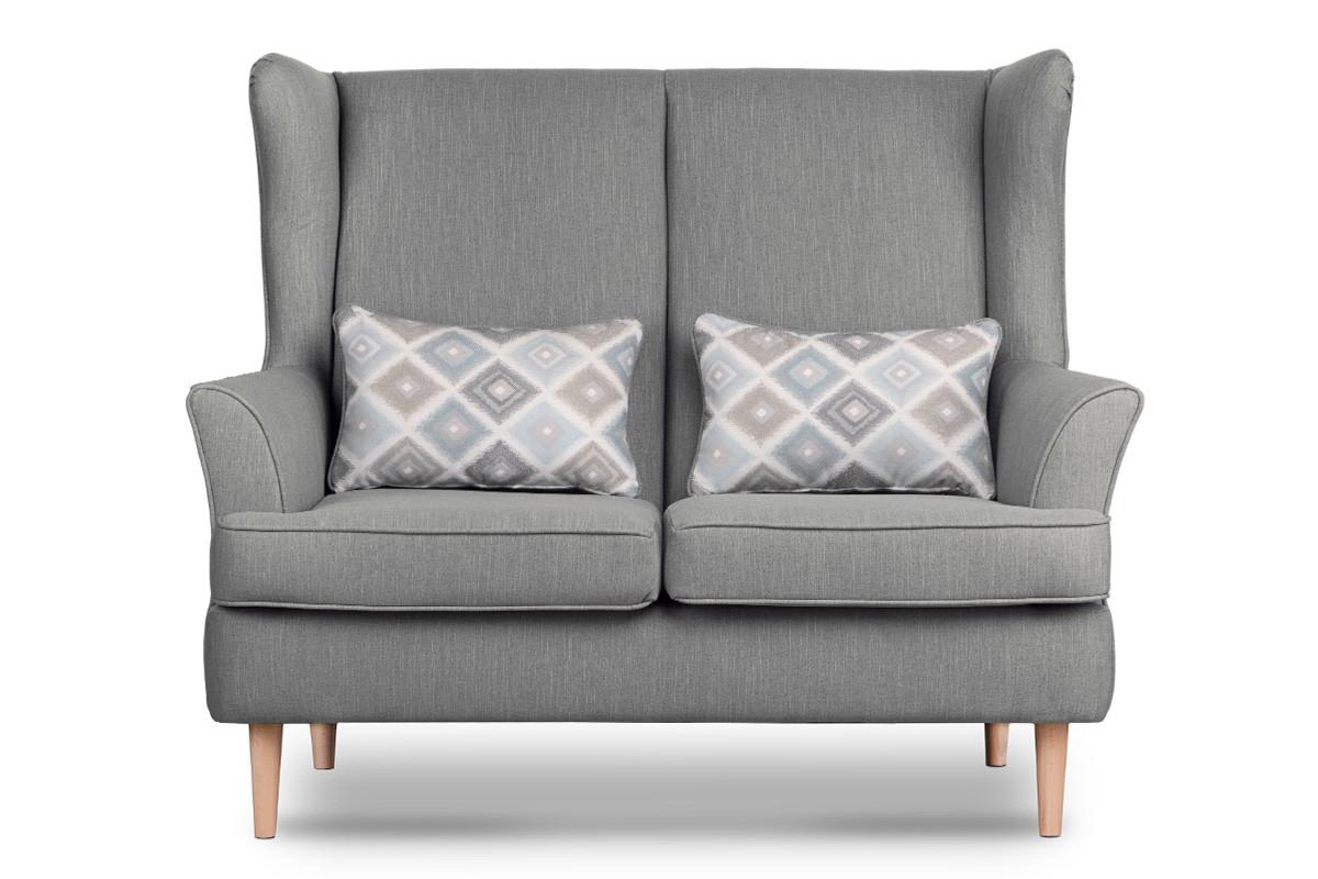 Skandynawska sofa dwuosobowa szara na nóżkach