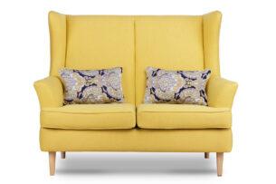 STRALIS, https://konsimo.pl/kolekcja/stralis/ Skandynawska sofa dwuosobowa żółta na nóżkach żółty - zdjęcie