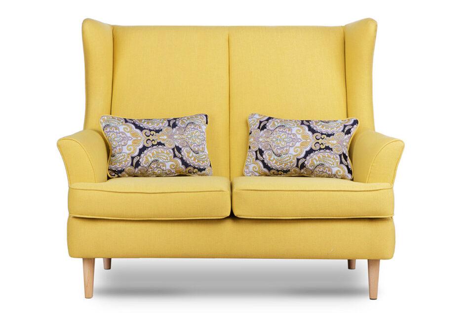 STRALIS Skandynawska sofa dwuosobowa żółta na nóżkach żółty - zdjęcie 0