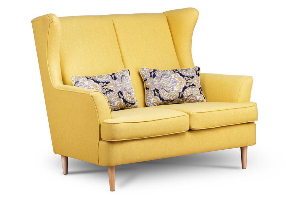 STRALIS Skandynawska sofa dwuosobowa żółta na nóżkach żółty - zdjęcie 2