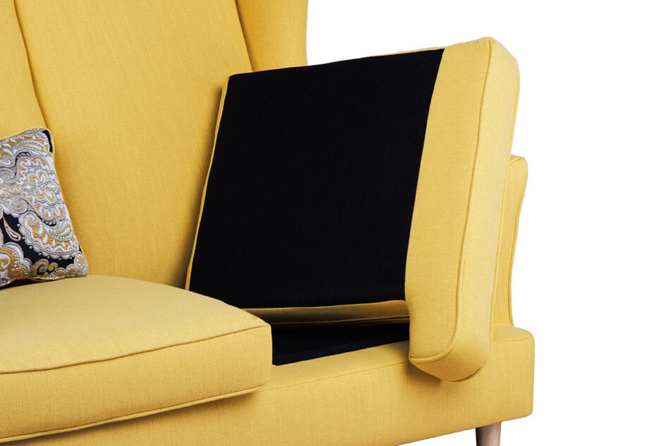 STRALIS Skandynawska sofa dwuosobowa żółta na nóżkach żółty - zdjęcie 6
