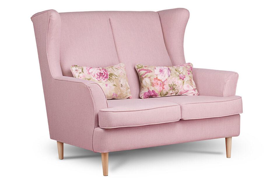 STRALIS Skandynawska sofa dwuosobowa pudrowy róż na nóżkach różowy - zdjęcie 1