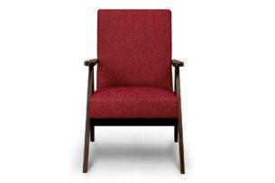 NASET, https://konsimo.pl/kolekcja/naset/ Fotel w styu PRL czerwony bordowy/ciemny orzech - zdjęcie