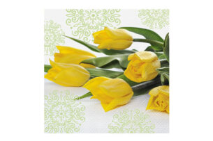 PRIMAVI, https://konsimo.pl/kolekcja/primavi/ Serwetka biały/żółty/zielony - zdjęcie