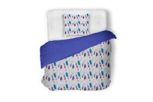 BOHIS, https://konsimo.pl/kolekcja/bohis/ Komplet pościeli biały/niebieski/fioletowy - zdjęcie