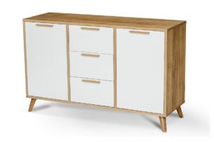 SKADI, https://konsimo.pl/kolekcja/skadi/ Skandynawska komoda z półkami i szufladami 120 cm biała / dąb dąb/biały - zdjęcie