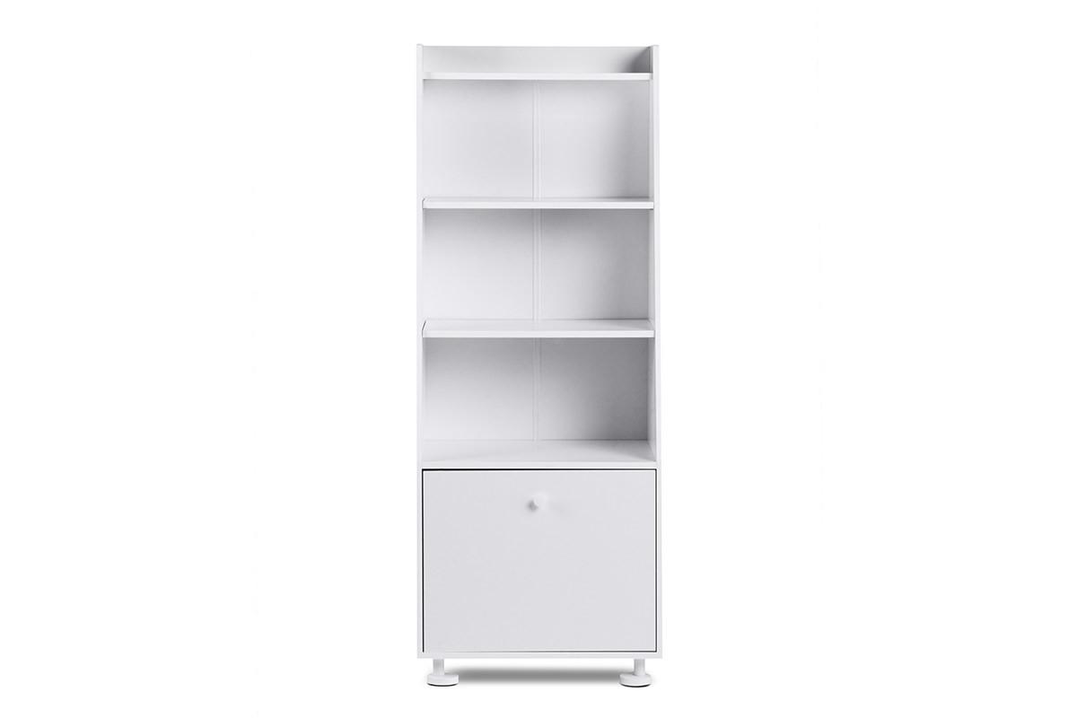 Regał wysoki dziecięcy zamykane półki biały
