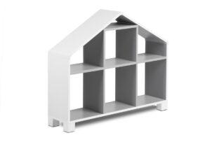 MIRUM, https://konsimo.pl/kolekcja/mirum/ Regał domek dla chłopca szary biały/szary - zdjęcie