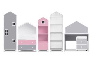 MIRUM, https://konsimo.pl/kolekcja/mirum/ Zestaw meble domki dla dziewczynki różowe 6 elementów biały/szary/różowy - zdjęcie