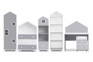 MIRUM, https://konsimo.pl/kolekcja/mirum/ Zestaw meble domki dla dzieci szare 6 elementów biały/szary - zdjęcie
