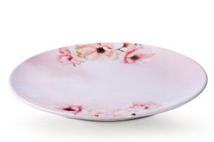 BASIMA, https://konsimo.pl/kolekcja/basima/ Talerz obiadowy różowy/biały - zdjęcie