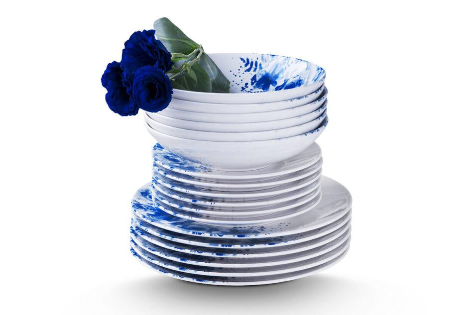 GENTIA Zestaw obiadowy, 6 os. (18el.) biały/niebieski - zdjęcie 9