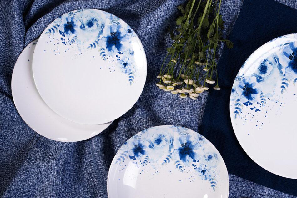 GENTIA Zestaw obiadowy, 6 os. (18el.) biały/niebieski - zdjęcie 1