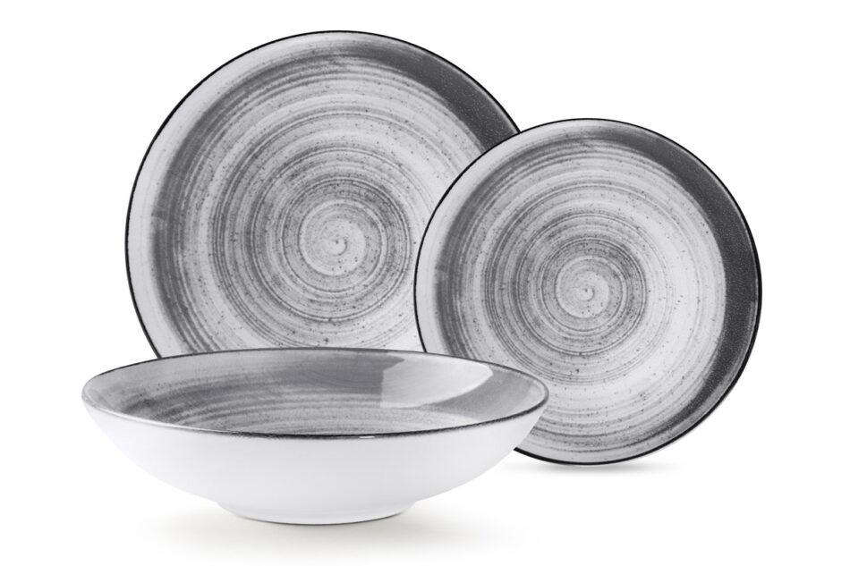 LINARI Nowoczesny zestaw talerzy obiadowych dla 6 os. 18 elementów szary szary/jasny szary - zdjęcie 11