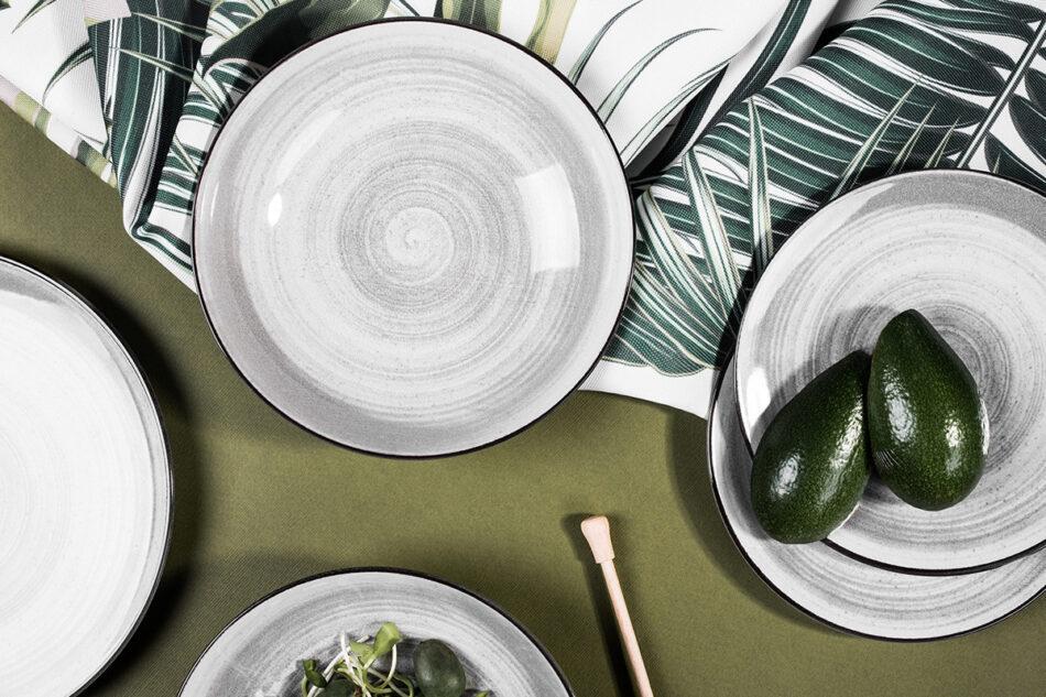 LINARI Nowoczesny zestaw talerzy obiadowych dla 6 os. 18 elementów szary szary/jasny szary - zdjęcie 1