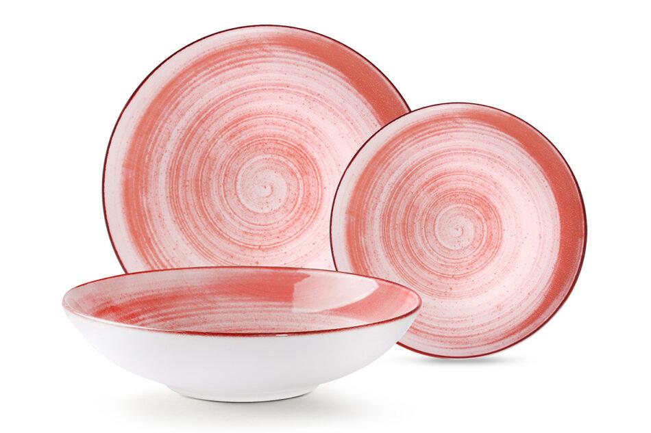 LINARI Nowoczesny zestaw talerzy obiadowych dla 6 os. 18 elementów różowy koralowy - zdjęcie 9