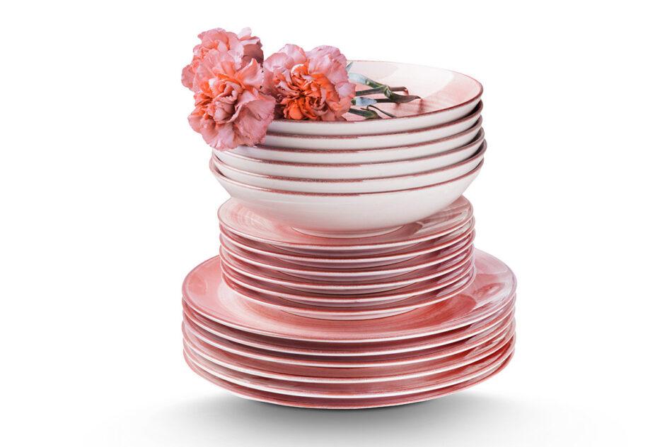 LINARI Nowoczesny zestaw talerzy obiadowych dla 6 os. 18 elementów różowy koralowy - zdjęcie 8