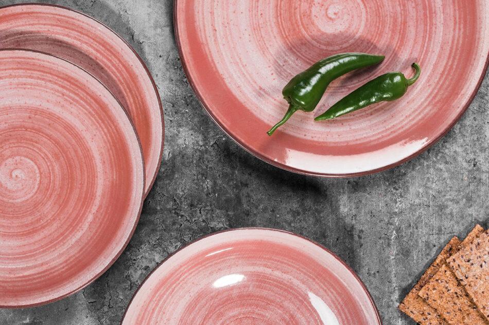 LINARI Nowoczesny zestaw talerzy obiadowych dla 6 os. 18 elementów różowy koralowy - zdjęcie 1