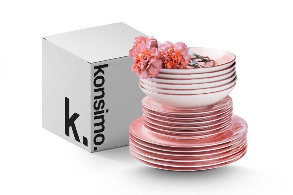 LINARI Nowoczesny zestaw talerzy obiadowych dla 6 os. 18 elementów różowy koralowy - zdjęcie 2