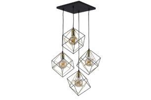 CUBES, https://konsimo.pl/kolekcja/cubes/ Lampa wisząca czarny/złoty - zdjęcie
