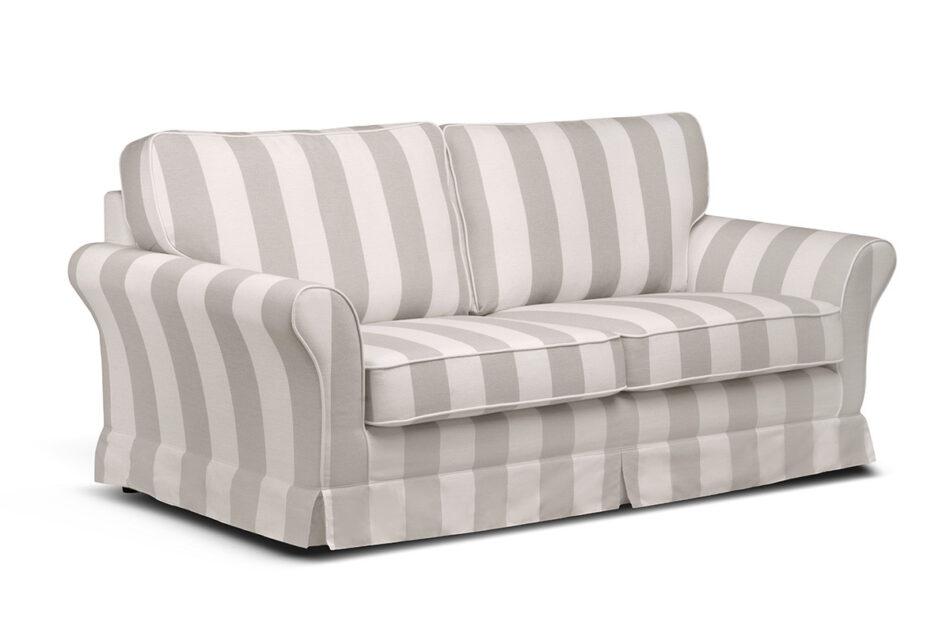 CARLA Klasyczna sofa w paski biało-beżowa beżowy/biały - zdjęcie 1