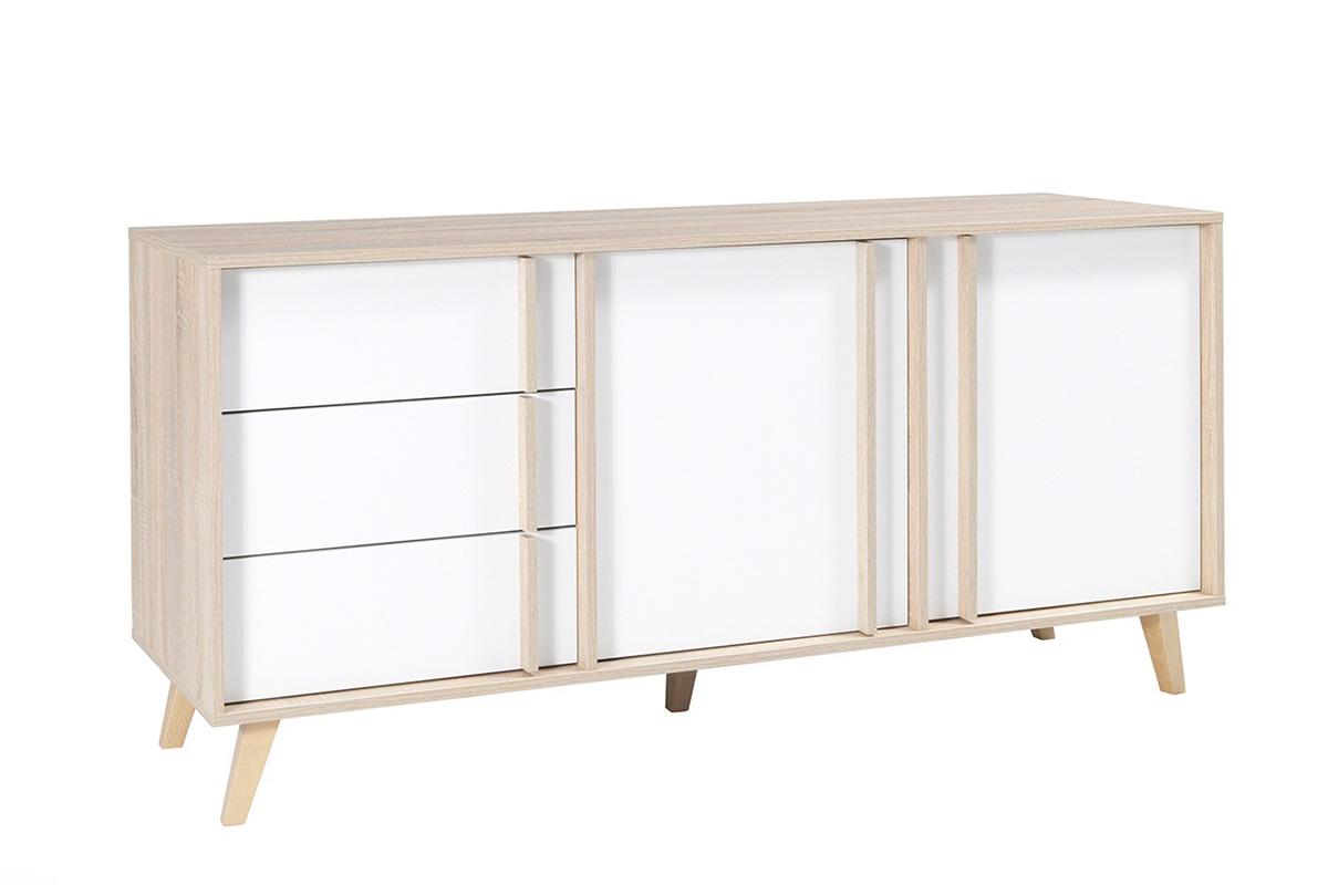 Minimalistyczna duża komoda z półkami i szufladami 165 cm biała / dąb