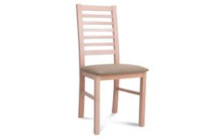 CLEMATI, https://konsimo.pl/kolekcja/clemati/ Drewniane bukowe krzesło tapicerowane beżowe siedzisko buk/beżowy - zdjęcie