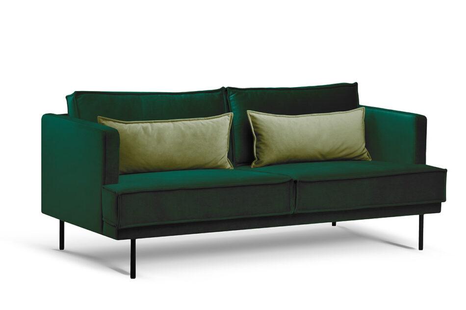 GANZO Sofa 3 osobowa do salonu z poduszkami butelkowa zieleń ciemny zielony/jasny zielony - zdjęcie 1