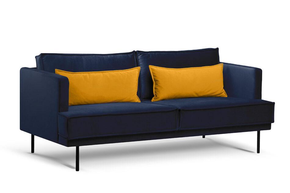 GANZO Sofa 3 osobowa do salonu z poduszkami niebieska granatowy/żółty - zdjęcie 1
