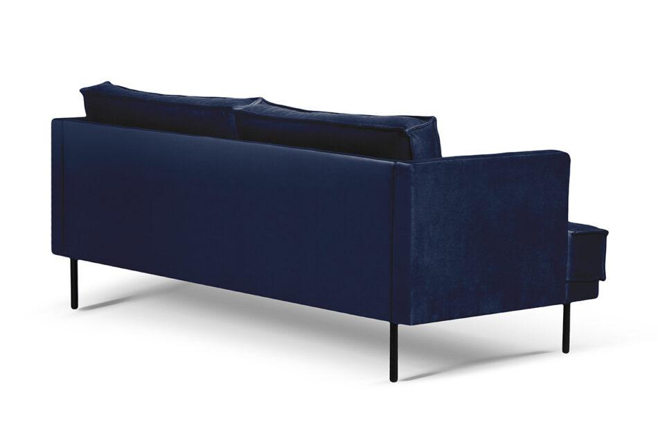 GANZO Sofa 3 osobowa do salonu z poduszkami niebieska granatowy/żółty - zdjęcie 2