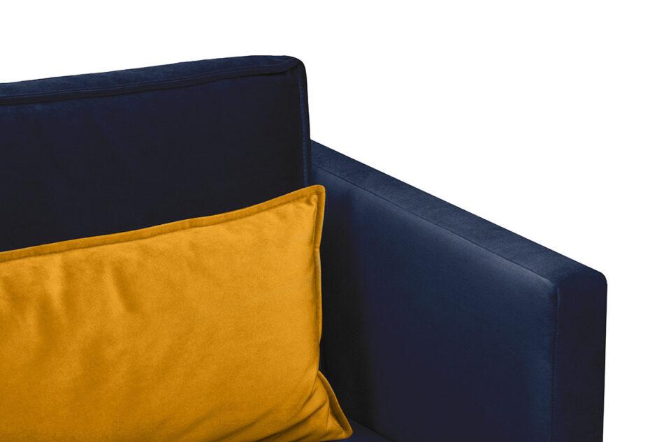 GANZO Sofa 3 osobowa do salonu z poduszkami niebieska granatowy/żółty - zdjęcie 3