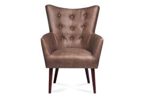 RUFIN, https://konsimo.pl/kolekcja/rufin/ Elegancki fotel z ekoskóry brązowy brązowy - zdjęcie