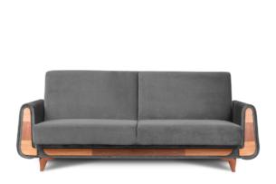 GUSTAVO, https://konsimo.pl/kolekcja/gustavo/ Szara sofa rozkładana welur antracytowy - zdjęcie