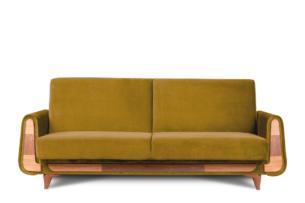 GUSTAVO, https://konsimo.pl/kolekcja/gustavo/ Żółta sofa rozkładana welur żółty - zdjęcie